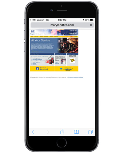 eCommerce-Website-Redesign-Maryland-Fire-Mobile-Old-Home-Page